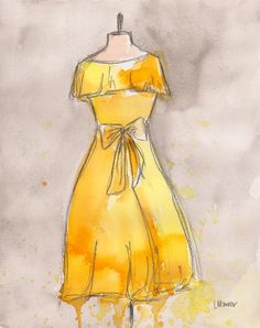 CLEARANCE  Vintage Dress Painting  Original by laurenspaintpalette
