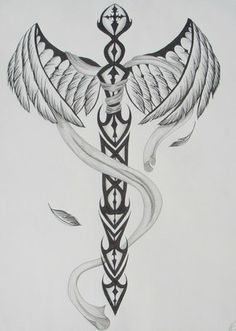 Phoenix With Tail Wrapped around Sword