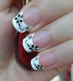 Cute french mani with black flowers