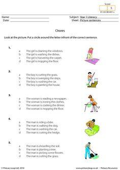 Picture sentences - Chores