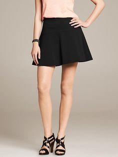 Ponte Fit-and-Flare Skirt | Banana Republic