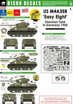 Décalcomanies US M4A3E8 'Easy Eight' in Germany 1945 – BISON BD-35137 Us Armor, Camouflage Colors, Sherman Tank, Photo Dump, Armored Fighting Vehicle, Ww2 Tanks, Paint Schemes, Armored Vehicles, War Machine