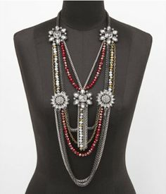Long floral brooch bib necklace