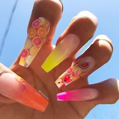 Summer acrylic nails with watermelon and fruit nails designs Fruit Nail Designs, Cute Acrylic Nail Designs, Colorful Nail Designs, Summer Acrylic Nails, Best Acrylic Nails, Aycrlic Nails, Swag Nails, Fruit Nail Art, Watermelon Nails
