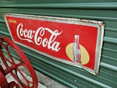 VINTAGE Old Antique 1949 COCA COLA SODA DRINK SIGN SILHOUETTE BOTTLE  #CocaColaSign Vintage Tins, Retro Vintage, Vintage Signs For Sale, Soda Drink, Drink Signs, Rc Cola, Wood Crates, Metal Tins, Cheer Up
