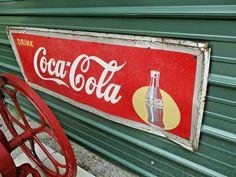VINTAGE Old Antique 1949 COCA COLA SODA DRINK SIGN SILHOUETTE BOTTLE  #CocaColaSign