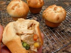 hand held vegan potpies  The crust is crescent roll dough (most brands are vegan even when they are 'butter' flavored) with the seams pressed together and then pushed into a muffin tin. The filling is onions, carrots, corn, broccoli, and morning star chick'n strips all cut in to little pieces and smothered in a simple almond milk pepper gravy.