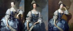 """Same Gown, Different Georgian Face. Mrs Emma Harvey c.1750/59 (L), Mrs John Parker c.1755/60 (center), and Margaret, Lady Oxenden c.1755/56 (R), all painted by Thomas Hudson, and all wearing the ubiquitous """"Van Dyk"""" party frock and jewelery (not their own). Hudson painted the faces while a specialist drapery painter did the rest! The 18thC equivalent of the """"glamor photo shoot"""" package available today!"""