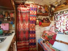 Lodge style decor in vintage camper Lake Lopez 2014