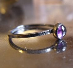 Faceted Amethyst Solitaire Ring Sterling Silver size 7 High Polished Band Party Bridesmaid Bride Elegant gift purple stacker