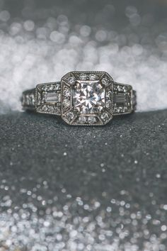 Art Deco diamond engagement ring |   Photo by Kristilee Parish Photography