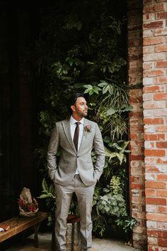 Groom in Grey Wedding Suit | By Rosie Kelly | Sheffield Wedding Venue | Indian Wedding | Indian British Wedding | White Sari for Bride | Grey Wedding Suit | Spring Wedding | Groom Wedding Suit | Groom Outfit