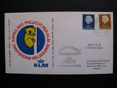 First KLM Flight - flightcover KLM: Amsterdam - Melbourne, Australia 3-4-1972...