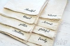 How to Embroider Words on Thanksgiving Napkins - Cutesy Crafts Hand Embroidery Projects, Floral Embroidery Patterns, Diy Embroidery, Cross Stitch Embroidery, Thanksgiving Words, Family Crafts, Sewing Crafts, Napkins, Crafty Craft