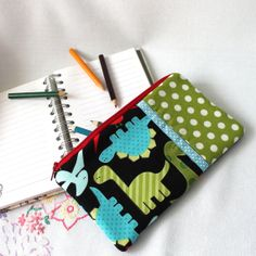 Pencil Case  Zipped Pouch  Makeup bag  'Dinosaur by BeadedGardenUK, £6.95