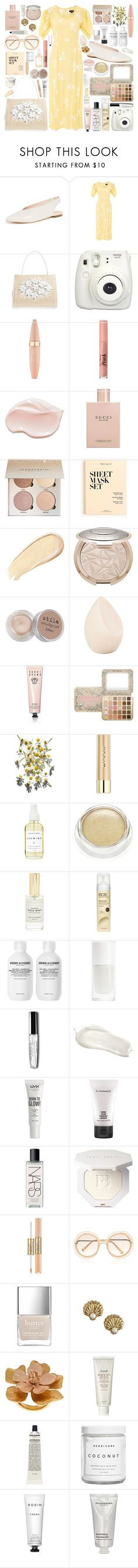"""""""Untitled #1093"""" by douxlaur on Polyvore featuring Loeffler Randall, Topshop, Nancy Gonzalez, Fujifilm, Maybelline, Too Faced Cosmetics, Gucci, J.Crew, Stila and Christian Dior"""