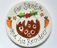 Christmas Plate for Santa and his Reindeer by PurpleGlazePotteryUK