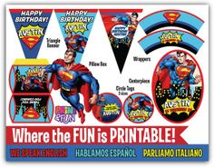 Super Party Kit SUPERMAN Comic Fiesta Imprimible por Printnfun, €18.00 #superman #supermanparty #comicparty #partyprintables