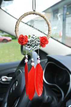 Candy Apple Red Flower Dreamcatcher: Red and Black Art, Red Car Accessories, Black and Red License Plate Addition, Car Accessory for Women Making Dream Catchers, Dream Catcher Art, Rear View Mirror Accessories, Car Accessories For Women, Feather Earrings, Women's Earrings, Candy Apple Red, Feather Art, Quilling Designs