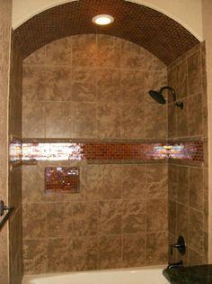 tiling a bathtub surround Hall Bathroom, Bathroom Renos, Bathroom Ideas, Bathroom Remodeling, Shower Ideas, Tile Tub Surround, Bathtub Tile, Living Styles, Beautiful Bathrooms