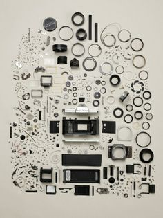 """Vintage Cameras Asahi Pentax Spotmatic F SLR Camera (prod c. - If we remove a screw from an object, chances are we broke it. But when Todd McLellan """"breaks"""" them (usually old objects), he disassembles them to the last screw: a clock, a typewriter, … Old Cameras, Vintage Cameras, Antique Cameras, Dslr Photography Tips, Art Photography, Product Photography, Fashion Photography, Classic Photography, Photography Accessories"""
