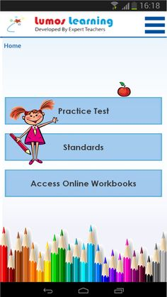 Screenshot of the Lumos StepUp™ App | Lumos StepUp™ is an educational app that helps students learn and master grade-level skills in Math and English Language Arts. List of features include,  * Learn Anywhere, Anytime! * Learn about all the Common Core State Standards. * Grades 3 - 8 Mathematics and English Language Arts. * Get instant access to the Common Core State Standards * One full-length sample practice test in all Grades and Subjects.