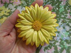 Big Yellow Enamel Floral Brooch Vintage by SheerTrashRoadshow
