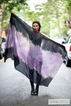 Silk Sheer Ombre Tie Dye Black Purple Gray Scarf Wrap. $179.00, via Etsy.