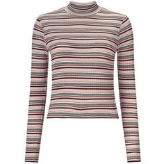 Miss Selfridge Pink Stripe Turtle Neck Top ($27) ❤ liked on Polyvore featuring tops, pink, turtleneck crop top, white long sleeve top, long sleeve crop top, ribbed turtleneck and turtle neck crop top