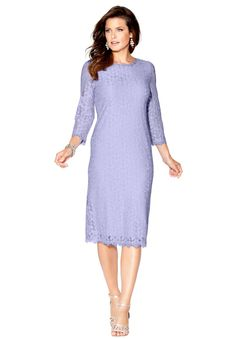 """Turn fantasy into reality with this lace sheath plus size dress featuring an elegant silhouette and a mermaid-inspired lace pattern.  sheath silhouette boat neckline eyelash lace trim at neckline sleeves and hemline back invisible zip with hook and eye closure fully lined hem drops to about 42"""""""" meeting the mid knee nylon/rayon lace; polyester dress, machine wash, imported  plus size dresses - lace sheath dress, sizes 14W-34W In Style Now!Add instant glamour to your wardrobe this season…"""
