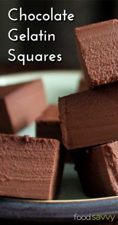 chocolate gelatin squares recipe with real food ingredients. Paleo Dessert, Healthy Sweets, Gluten Free Desserts, Just Desserts, Delicious Desserts, Dessert Recipes, Yummy Food, Healthy Snacks, Sin Gluten
