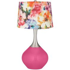 Color Plus Blossom Pink Watercolor Flower Shade Spencer Table Lamp (€150) ❤ liked on Polyvore featuring home, lighting, table lamps, lamps, furniture, pink, flower lamp, flower lights, flower stem and pink lights