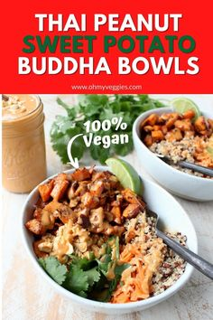Roasted sweet potatoes and quinoa are topped with delicious Thai peanut sauce in this healthy, gluten free & vegan buddha bowl recipe! Vegetarian Cooking, Vegetarian Recipes, Healthy Recipes, Buddha Bowl, Healthy Eating Habits, Peanut Sauce, Roasted Sweet Potatoes, How To Cook Quinoa, Nutritious Meals