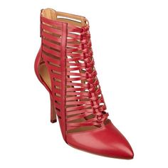 "Nine West Bessy Caged Bootie Red strappy bootie.  Leather. Pointed toe.  4"" heel. Worn twice. No damage. Still have the original box. Nine West Shoes"