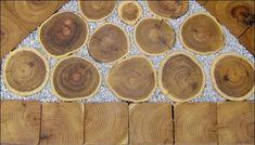 Her ses kombination med runde og firkantede træfliser