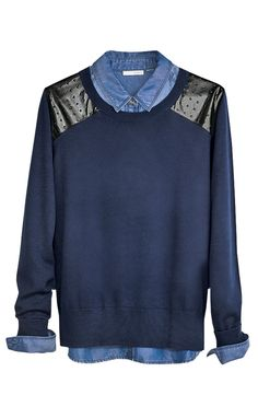 Mixed media sweaters are perfect with chambray tops.