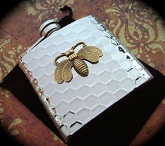 Bee Flask Honeycomb Mixed Metals Brass & Silver by CosmicFirefly, $65.00