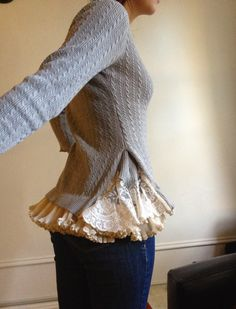 Romantic Lace Sweater,upcycled sweater and lace, LOVE this!!
