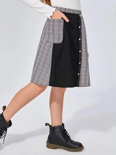 Girls Buttoned Front Lace Detail Plaid Panel Skirt – Kidenhouse Leopard Print Skirt, Floral Print Skirt, Pleated Skirt, Midi Skirt, Autumn Summer, Printed Skirts, Lace Detail, Plaid, Girl Skirts