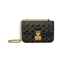 """""""DIORADDICT"""" FLAP BAG IN BLACK STUDDED CANNAGE LAMBSKIN ❤ liked on Polyvore featuring bags, handbags, studded bag, lambskin purse, lambskin bag, lambskin leather purse and lambskin leather handbags"""