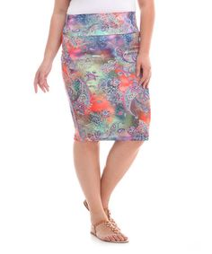 Another great find on #zulily! Blue Leopard Paisley Pencil Skirt - Plus #zulilyfinds