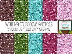 Waiting to Bloom Glitter Textures | Spring Colors |  MandysLovableDesigns,