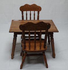 Child Antique Leg Table and little Chair Set Solid Oak by OakChest