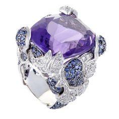 ~ Diamond Sapphire Amethyst Cocktail Ring ~ 1stdibs.com
