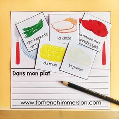 """French Thanksgiving Lapbook - students get to choose what will go on their Thanksgiving plate! """"Lapbook"""" pour l'Action de Grâce (en français)"""