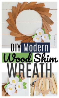 Full TUTORIAL for Making a DIY Modern Wreath using Wood Shims and Paper Flowers.