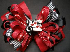 Large Red Black Music Notes Hair Bow Band Camp by HareBizBows