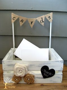 Need a cute way to collect your wedding cards?   This cute mini crate card box is a perfect addition to your gift table to collect cards and small gifts. It is painted, distressed and top sealed with all natural, no VOC products and embellished with burlap flowers, lace, tulle and a mini banner...