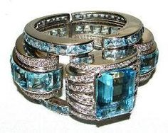 Cartier London,1930s, Aquamarine and Diamond Bracelet
