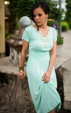 I really like the color of this dress (of course LOVE mint) but the cute under the bust and the small sleeve it very appealing.